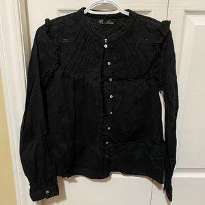 ZARA Long Sleeve Ruffled Black Top